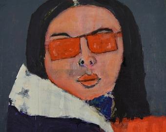 Acrylic Portrait Painting. Original Mixed Media Collage Art. Woman Portrait. Orange Sunglasses. 10x10 Canvas