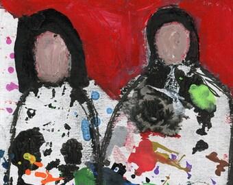 Two Women Portrait Painting Unframed Print - Never Alone - Katie Jeanne Wood