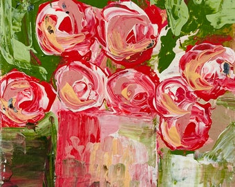 Pink Roses Abstract Floral Art - Palette Knife Painting No 294 - Katie Jeanne Wood
