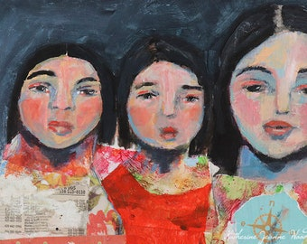 Gift for Sister. Acrylic Mixed Media Portrait Painting. Sisters Road Trip Painting. Original Girl's Room Wall Decor