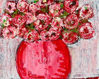 Pink Roses Floral Flower Farmhouse Style Canvas Painting No 36