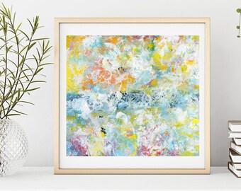 Large Modern Pastel Abstract Wall Decor, Living Room Wall Art, Unframed Print
