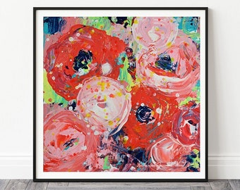 Large Roses Flower Unframed Painting Prints, Modern Roses Print, Living Room Wall Art No 318