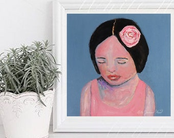 Meditating Girl Wearing Pink Rose Portrait Unframed Painting Print - In the Moment