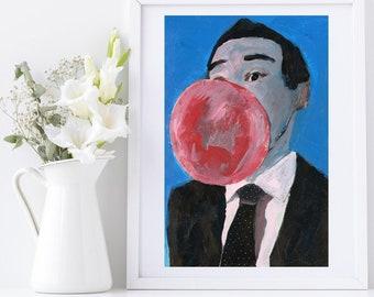 Small to Large Prints, Canvas Prints, Businessman's Bubble Gum Portrait Unframed Painting Print - Katie Jeanne Wood