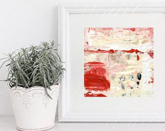 Red & White Abstract Painting Unframed Paper Print, Canvas Print - Demands Attention