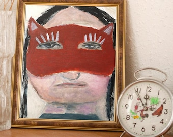 Red Masquerade Mask Portrait Painting Unframed Print on Paper - Nothing Can Be Hidden Behind a Mask
