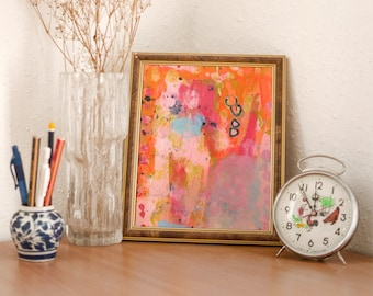 Colorful Abstract Unframed Painting Print, Gift for Couple, Office Wall Art, Bedroom Print