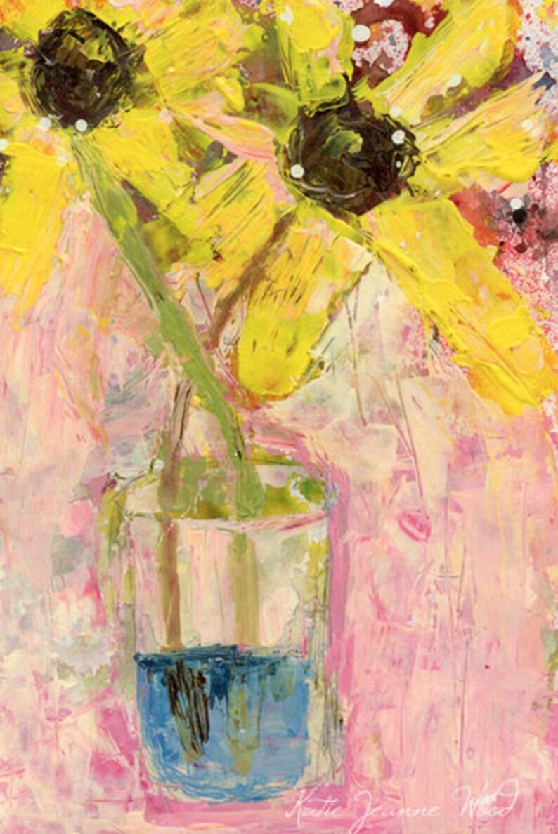 Yellow Daisy Flower Painting Print No 189 image 0