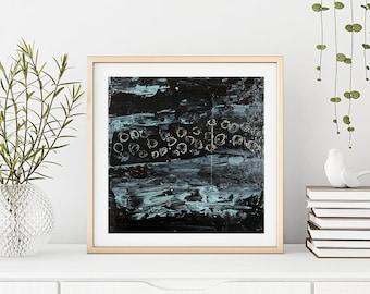Large Modern Abstract Wall Decor, Black White Blue Gray Living Room Wall Art, Unframed Print