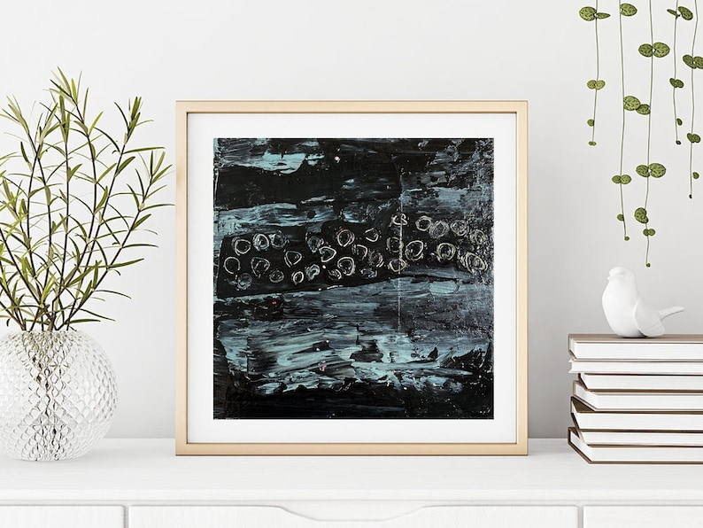 Large Modern Abstract Wall Decor Black White Blue Gray Living image 0