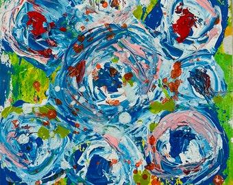 Blue Green Abstract Floral, Original Miniature Flower Art, Flower Palette Knife Painting No 351