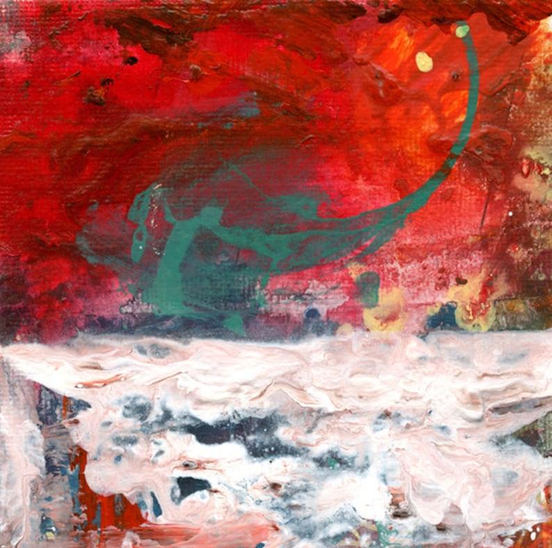 Acrylic Abstract Art Tornado Painting. 4x4 Miniature Painting. image 0