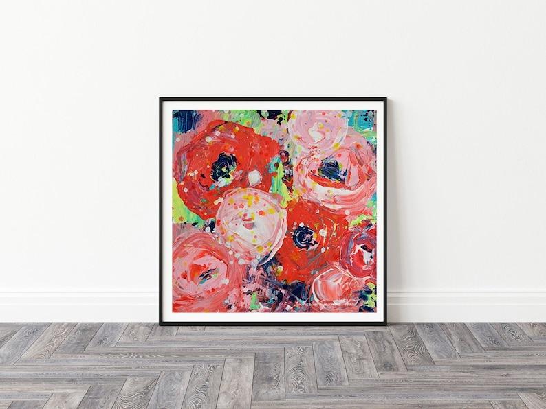 Large Roses Flower Unframed Painting Prints Modern Roses image 0