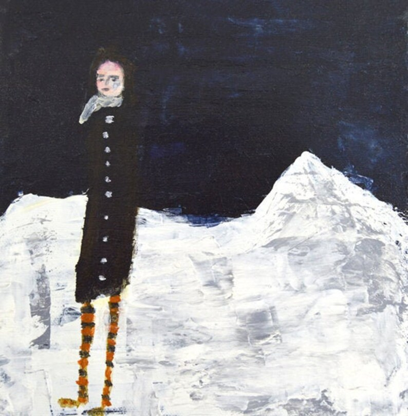 Figure Winter Snow Unframed Painting Print  Secluded in the image 0