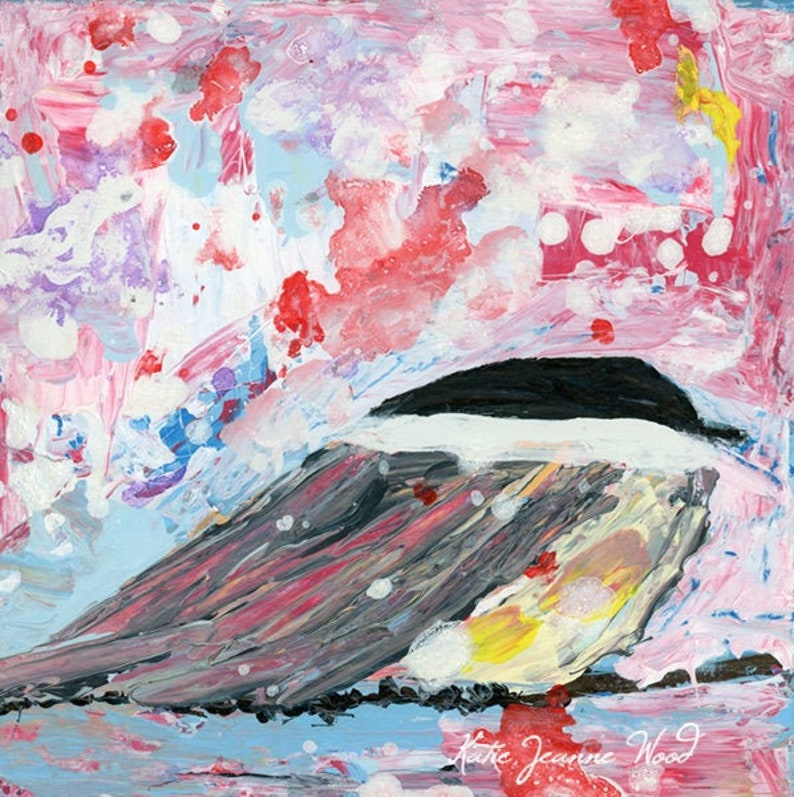 Acrylic Chickadee Bird Painting No 143 image 0