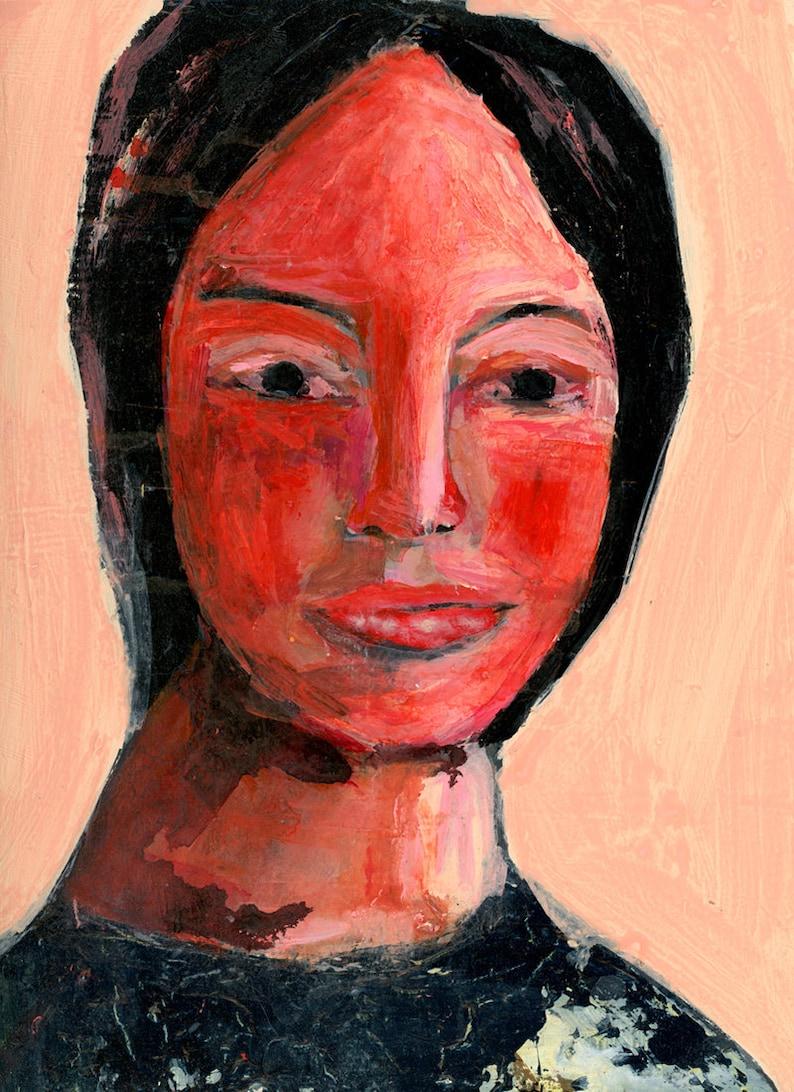 Pink & Orange Woman Portrait Painting Print image 0