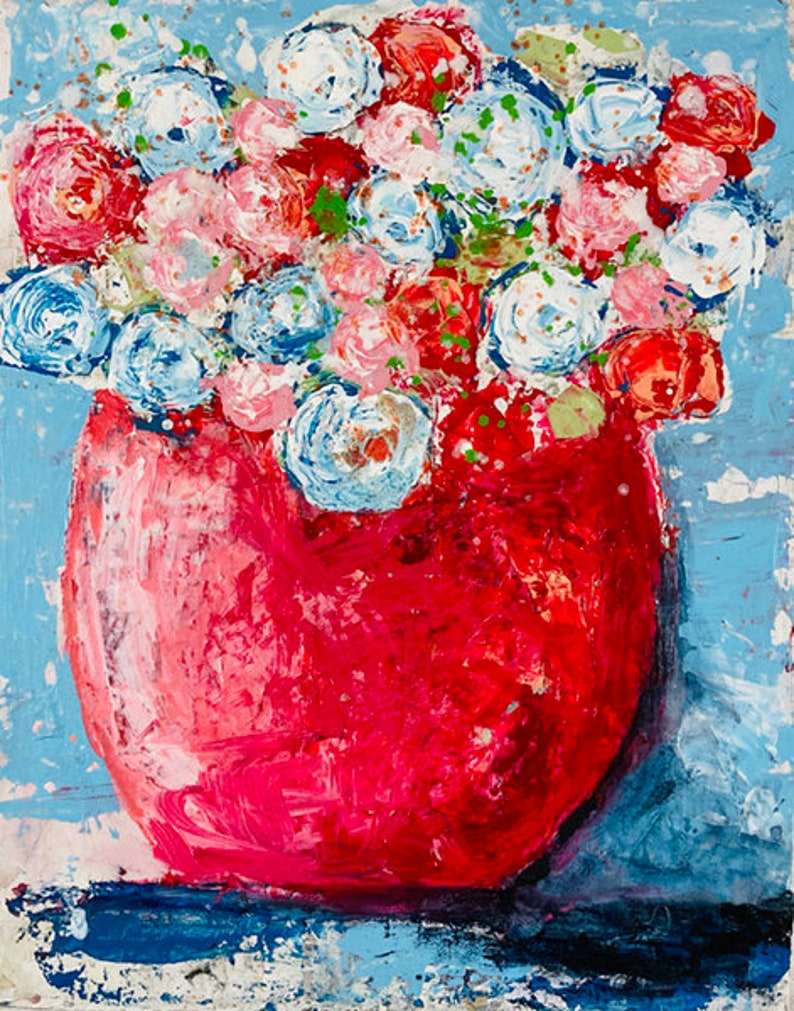 Large Flower Original Painting Red & White Roses No 317 image 0