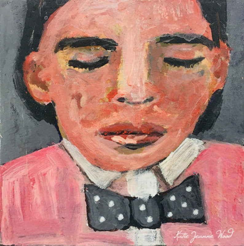 Acrylic Child Portrait Party Boy Painting  Pink Shirt & Tie image 0
