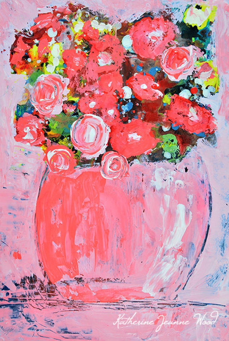 Acrylic Pink Roses Flower Painting No 180 image 0