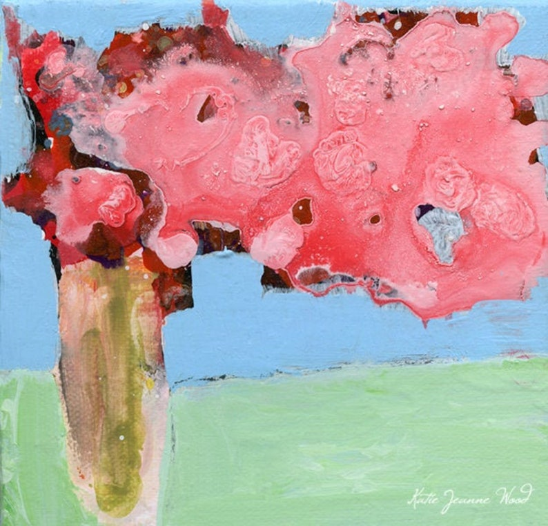 Pink Roses Abstract Farmhouse Flower Painting Print No 341 image 0