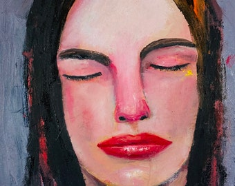 Oil Portrait Painting Original Meditating Woman - As Understanding Grows