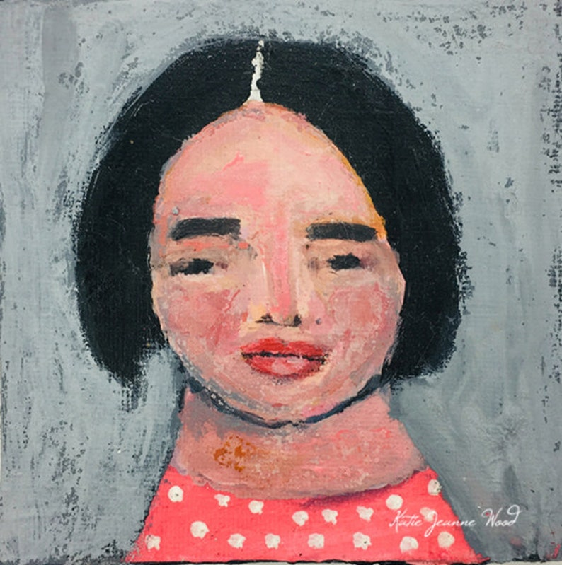 Acrylic Miniature Child Portrait Painting  Lonely Lulu image 0