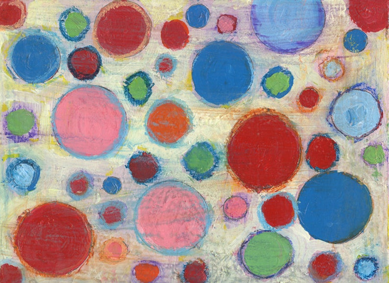 Colorful Geometric Circles Abstract Painting Print image 0