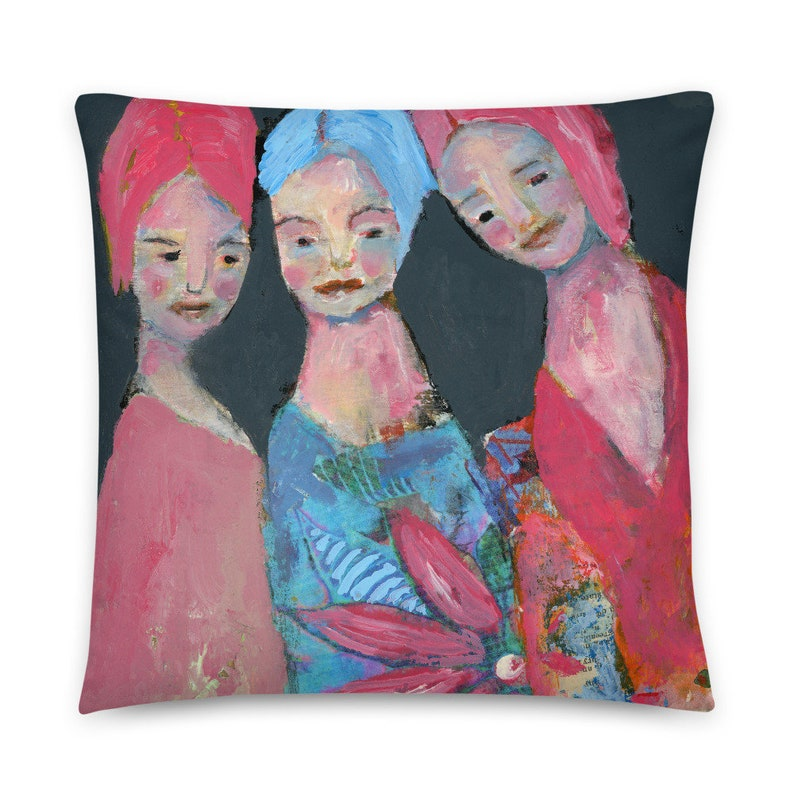 Bedroom Throw Pillow with 3 Sisters or Friends image 0
