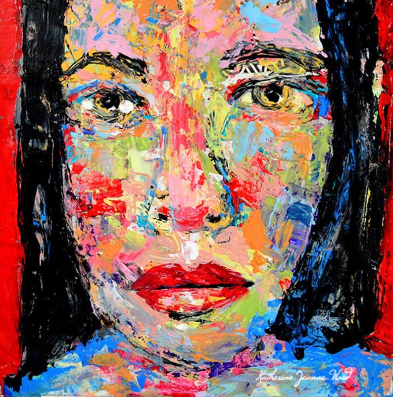 Vibrant Red Palette Knife Art Portrait Wall Art Prints image 0