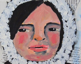 Art on Sale. Acrylic Girl Portrait Painting. Mixed Media Collage Art. Winter Painting. 6x6 Wall Hanging. Original Apartment Decor.