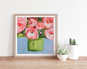 Pink Roses in Chartreuse Vase Painting, Pretty Unframed Floral Print No 260