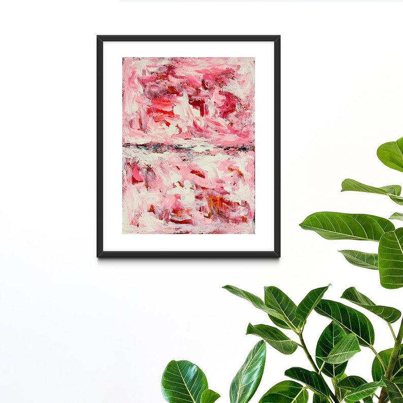 Pink Swirly Abstract Painting Print on Paper or Canvas Wall image 0