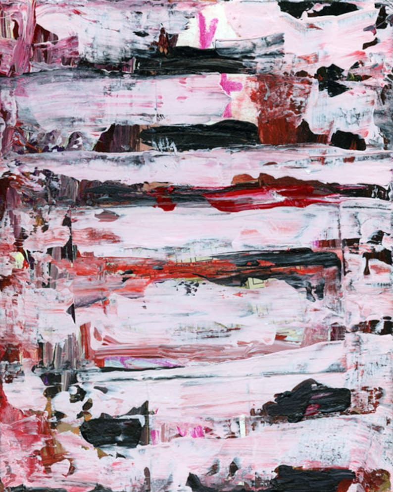 Black & Pale Pink Acrylic Striped Abstract Painting Drink image 0