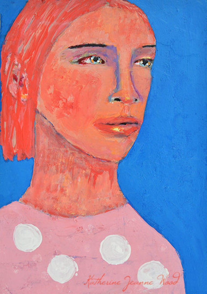 Pink Hair Woman Portrait Painting Original Blue Acrylic Mixed image 0