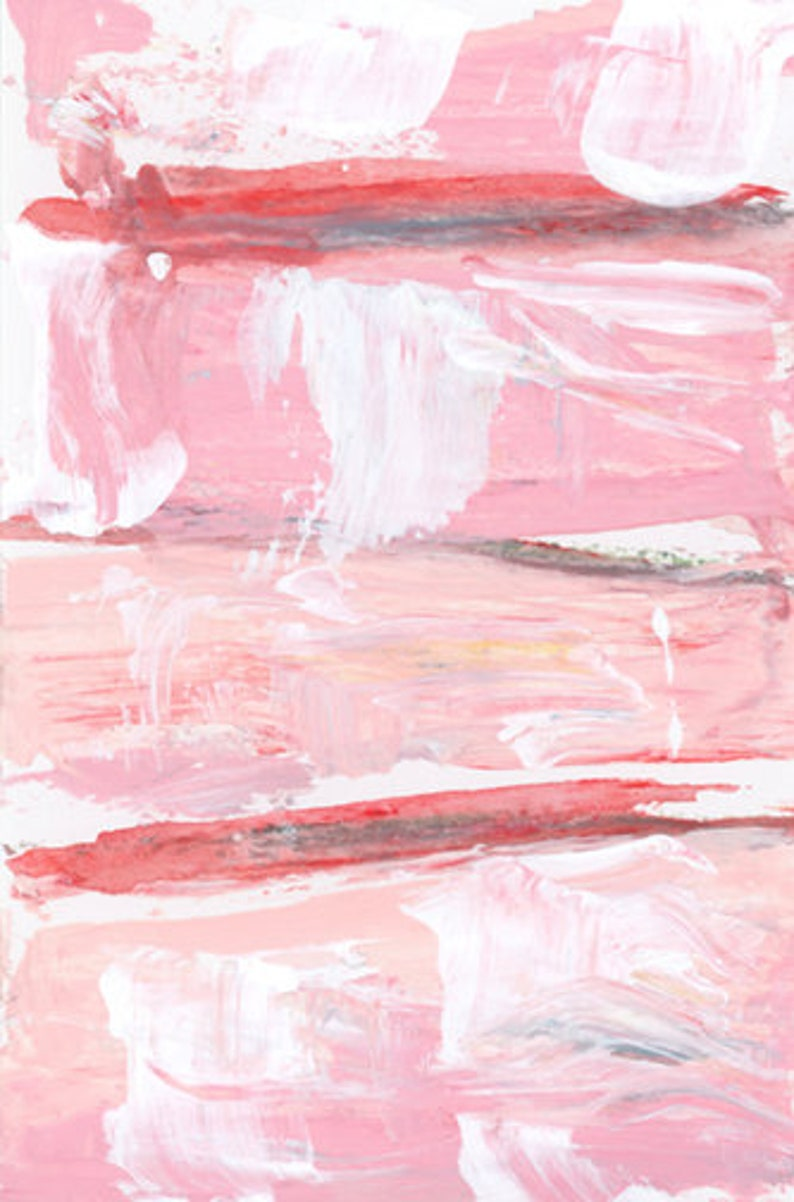 Pink & White Abstract Unframed Painting Print  Farmhouse image 0