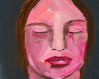 Clearance Sale - Small Acrylic Portrait Painting, Tired Girl Art