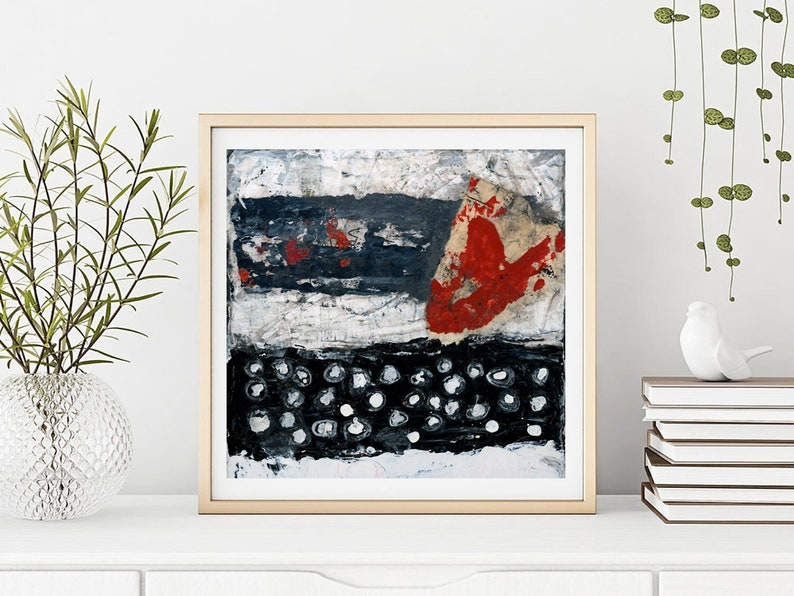 Large Modern Abstract Wall Decor Black White Red Living Room image 0