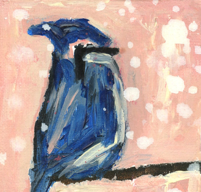 Bluejay Bird Palette Knife Painting Print No 106 image 0