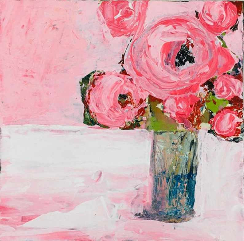 Pink Roses Farmhouse Painting Print No 21 image 0