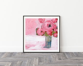 Pink Roses Farmhouse Unframed Painting Print No 21