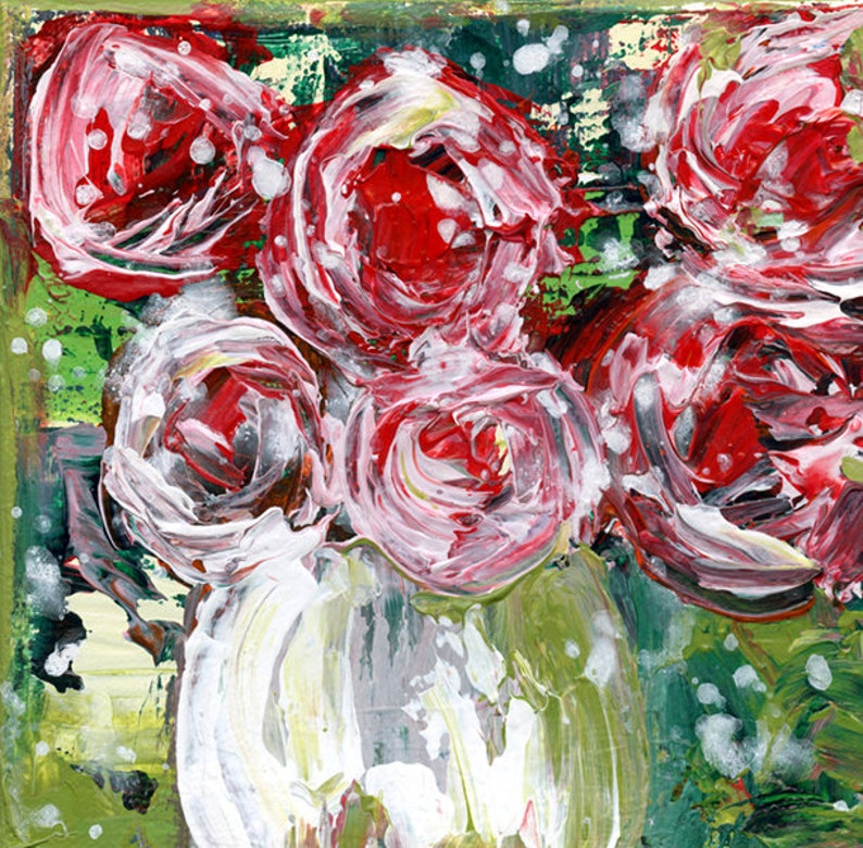 Abstract Pink Green Roses Flower Art Farmhouse Canvas image 0