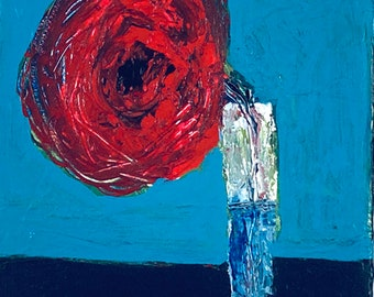 Red Poppy Floral Canvas Art, Original Palette Knife Painting, Miniature Tiny House Art No 25
