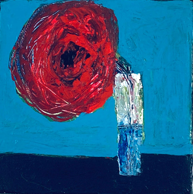 Red Poppy Floral Canvas Art  Palette Knife Painting No 25 image 0
