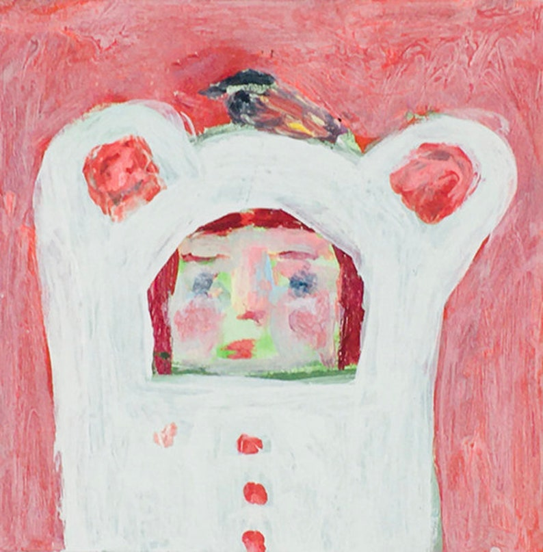 White Bear Girl & Bird Fantasy Painting Child's Room image 0
