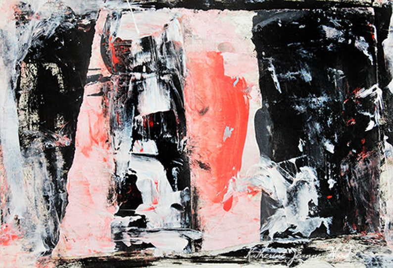 Black & Pink Acrylic Abstract Painting Print Unique Wall Art image 0