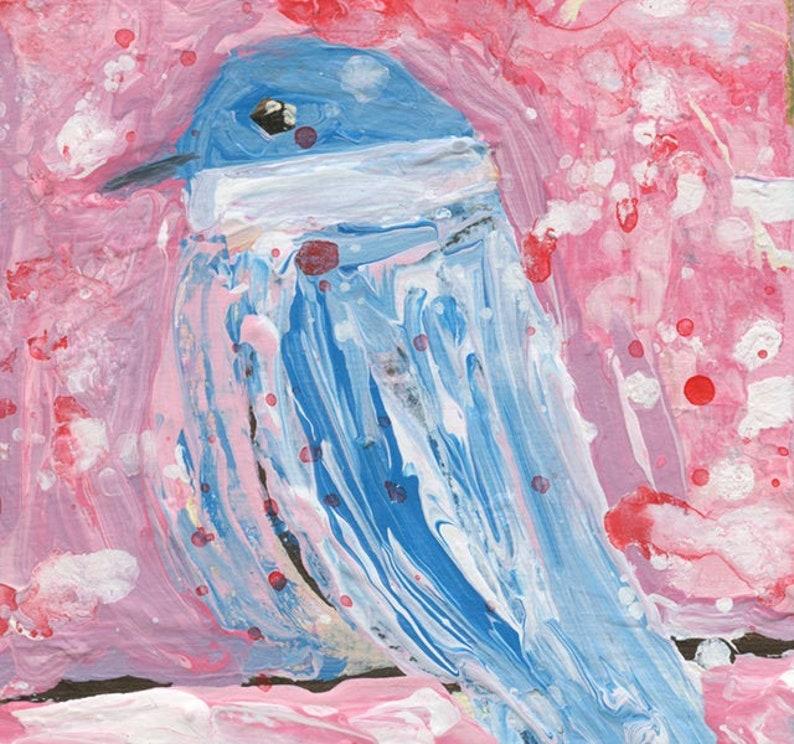 Pink & Pale Blue Chickadee Miniature Bird Painting No 113 image 0