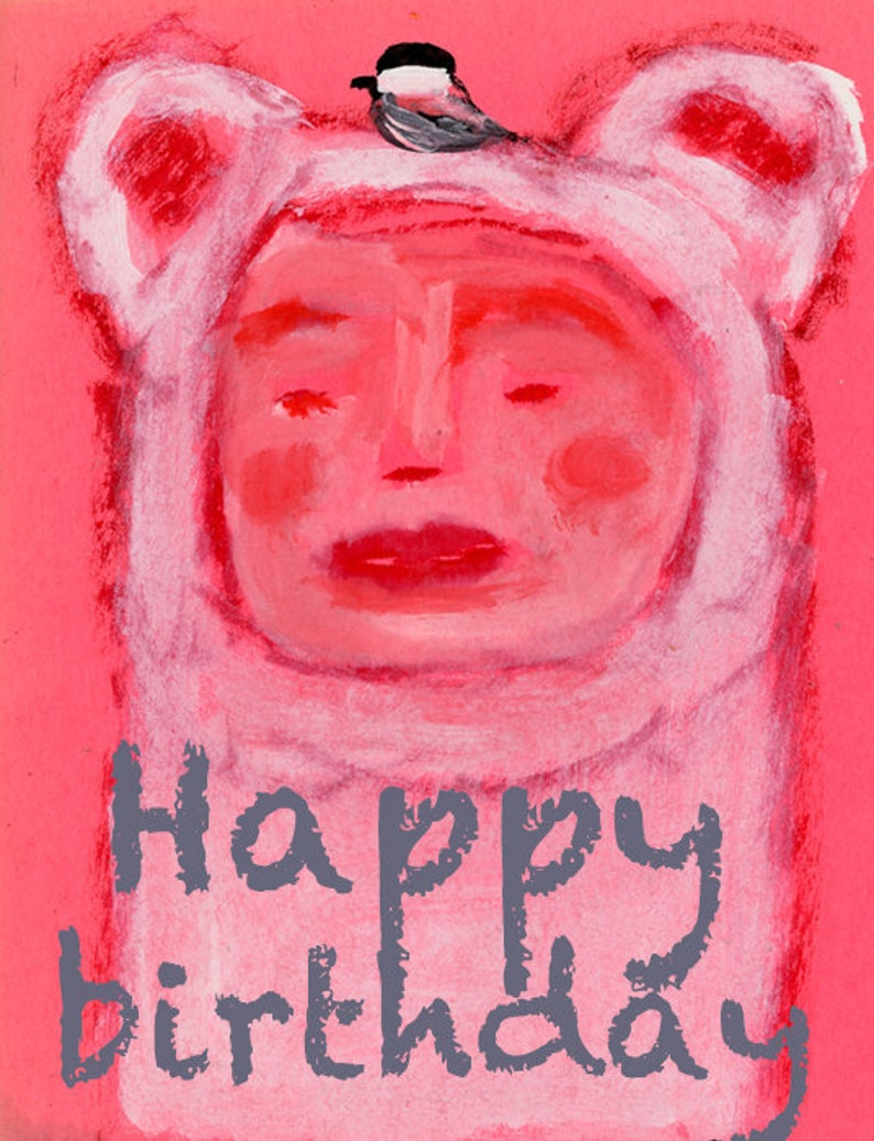 Happy Birthday Bear & Chickadee Bird Print for Children's image 0