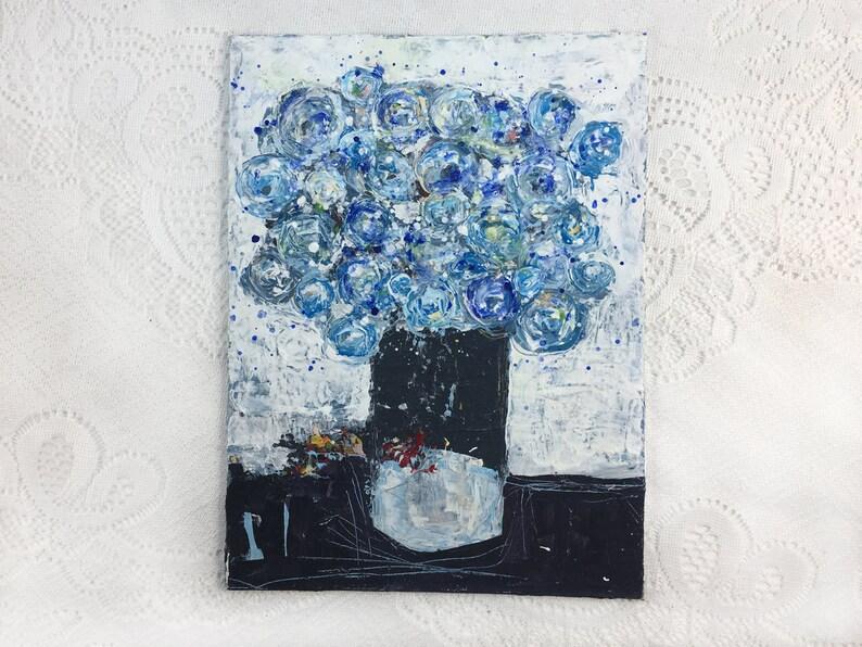 Palette Knife Painting  Original Blue Roses Art No 342 image 0