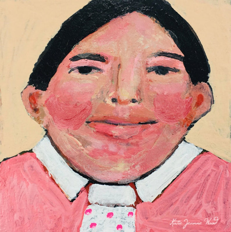 Acrylic Child Portrait Boy Painting  Pink Shirt & Tie image 0